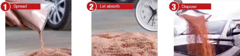 absorbin-V example of use on a puddle of oil