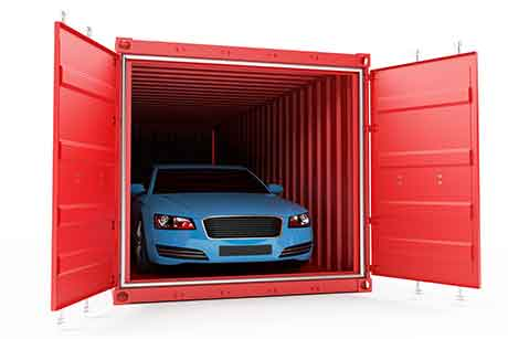 Cars are shipped in containers.