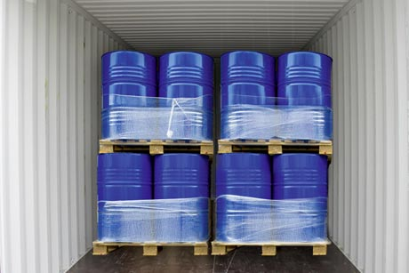 Transport of chemical drums in sea container