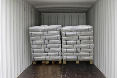 Transport of starch sacks in sea container