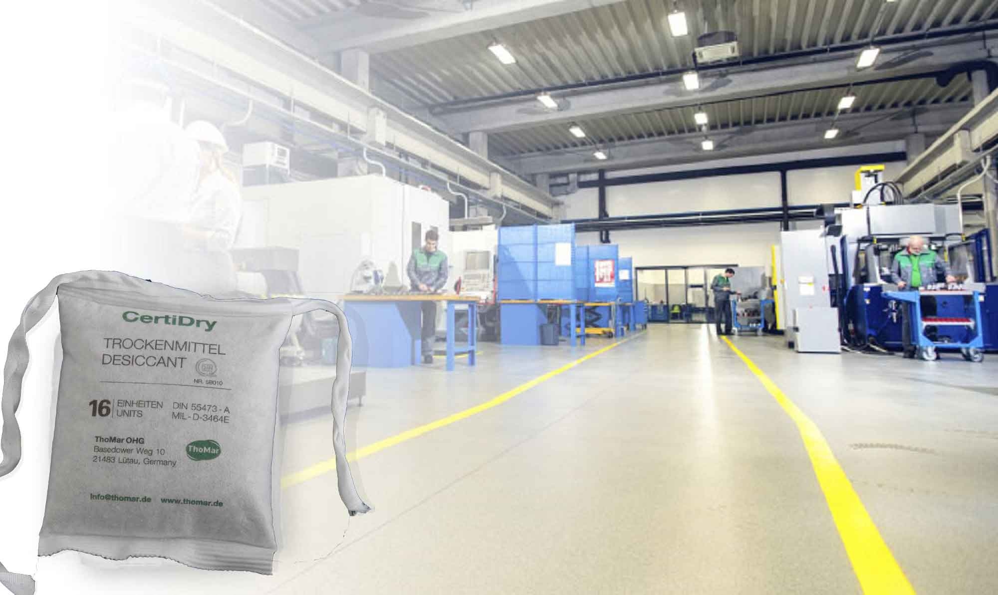 Image DIN desiccant pouch in a workshop